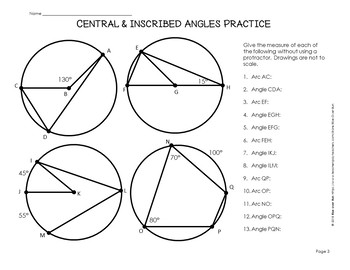 Circle Theorems Intro Notes: Central and Inscribed Angles