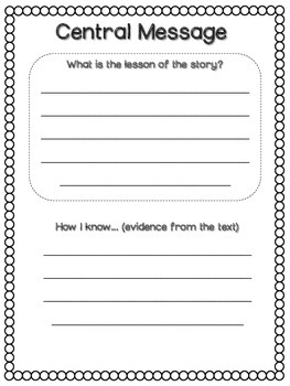 Central Message Graphic Organizers