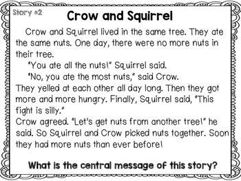 Central Message Scoot or Center Activity with 8 Short Stories RL.2.2