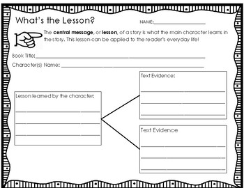 Central Message or Lesson Graphic Organizer