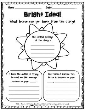 Central Message with Supporting Text Evidence  *Use with ANY STORY!*