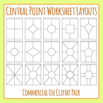 Central Point Worksheet Template / Layout Clip Art Set for Commercial Use