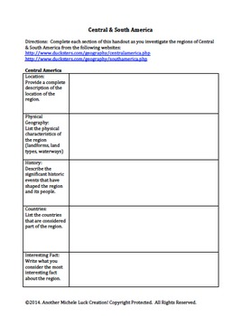 Central & South America Geography Atlas Introduction Activity