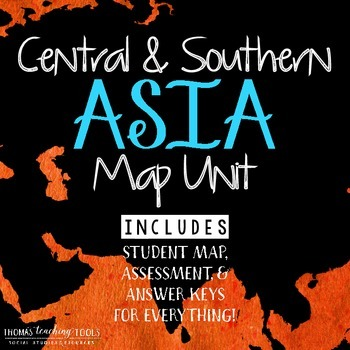Asia Map Unit: Central and Southern Regions with Outline Map and Test