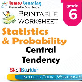 Central Tendency Printable Worksheet, Grade 6