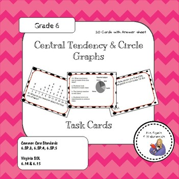 Central Tendency Task Cards with Circle Graphs