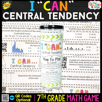 7th Grade Central Tendency and Variability of Data Game | 7th Grade Math Review