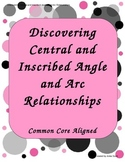 Central and Inscribed Angle & Arc Relationships Worksheet-