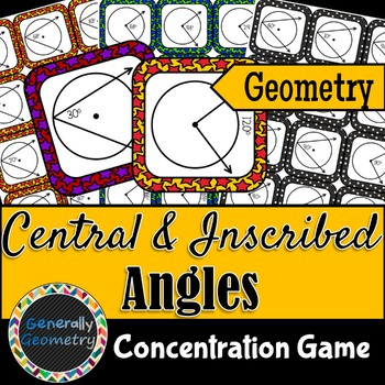 Central and Inscribed Angles Concentration Game; Geometry: Circles