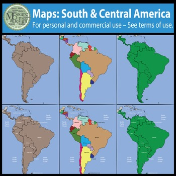 Map Clip Art: Central and South America Set {Messare Clips and Design}
