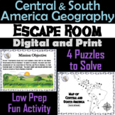 Central and South America Geography Activity Escape Room