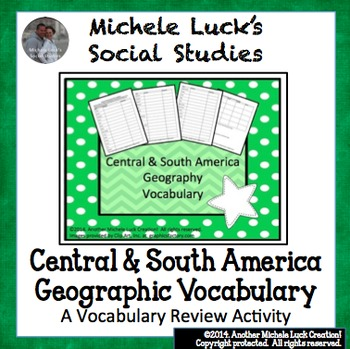 Central and South America Vocabulary Activity