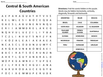 Central and South American Countries Word Search w/ Answer Key