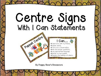 Centre Signs With I Can Posters