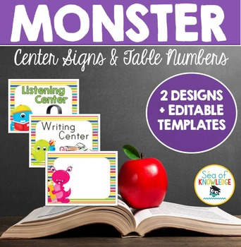 Centre Signs and Table Numbers Monster Themed
