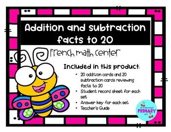 Centre de maths pour le primaire - addition et soustraction de 0 à 20