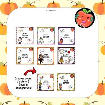 Centres de maths jeu d'automne avec les citrouilles pour la maternelle à 2e