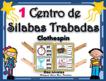 Centro de Silabas Trabadas Grupos Consonánticos Clothespin Bilingual MrsPartida