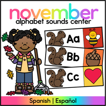 Centro de Sonidos Iniciales/ABC Letter/Sound Match Spanish Fall Themed