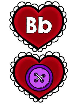 Centro de Sonidos Iniciales/ABC Letter/Sound Match Spanish Valentine
