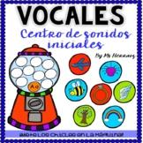 Centro de lectura de las vocales: Actividad sonido inicial letras español