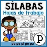 Hojas de trabajo SÍLABAS DE LA LETRA P   Actividades de lectura español
