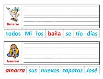 Centro de verbos: Corte, haga la oracion y escriba