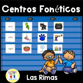 Centros fonéticos 06: Las Rimas:  Spanish Rhyming Phonics Center -- FREEBIE