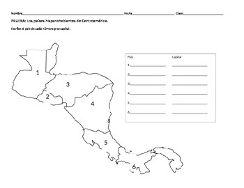 Centroamerica Central America Geography Quiz Tpt
