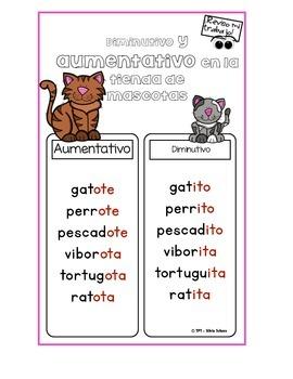 """Centros de aprendizaje en español """"PARA LLEVAR"""" - Aumentativo y diminutivo"""