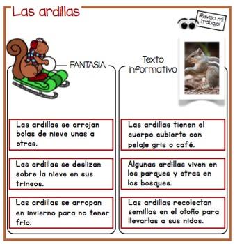 """Centros de aprendizaje en español """"PARA LLEVAR"""" - Fantasía y texto informativo"""
