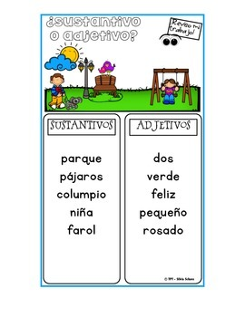 """Centros de aprendizaje en español """"PARA LLEVAR"""" - Sustantivos y adjetivos"""