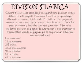Centros de aprendizaje en español para practicar división silábica UPDATED