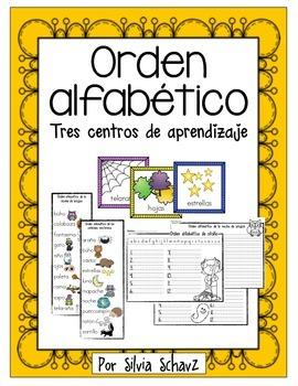 Centros de aprendizaje para practicar orden alfabético