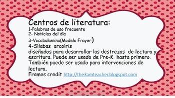 Centros de  artes del lenguajeSpanish Litieracy Centers(bundle)
