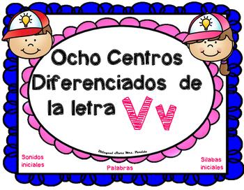 Centros de la letra V v Lectoescritura Sonido Sílabas Cent