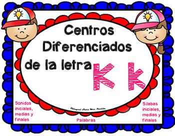 Centros de la letra K k  Lectoescritura Sonido Silabas Centers Kk  Mrs.Partida
