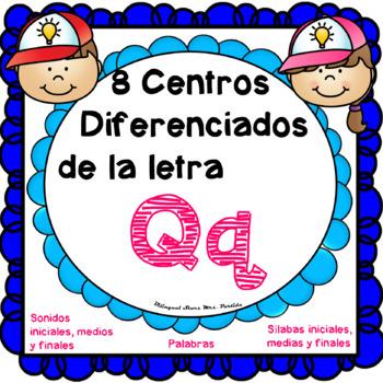 Centros de la letra Qq Lectoescritura  Silabas Q q  Spanish Center