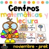 Centros de lectura y matemáticas PRE KINDER noviembre