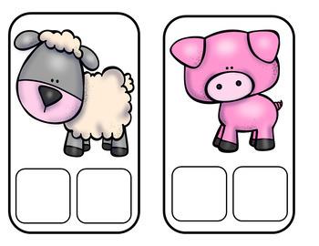 Centros de vocabulario: Los animales de la granja en ingles y espanol