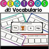 Centros de vocabulario bilingue: frases en ingles y espanol