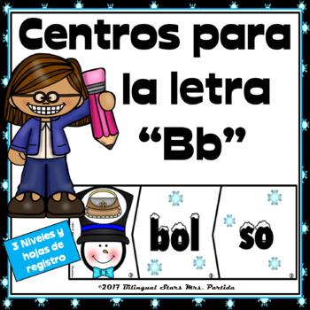 Centros para la Letra Bb Contar sílabas, Formar palabras  Snowman Winter Centers