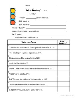 CENTURY NUMBERING Lessons and Worksheets - No-Prep