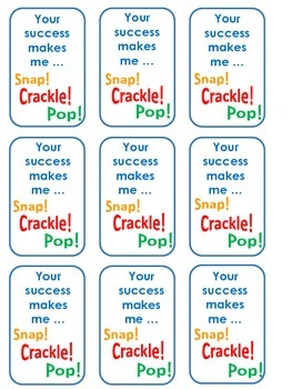 Cereal Tags for Awards, Rewards, or Gifts Lucky Charms Froot Loops Cheerios