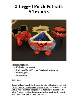 """Deign & Create a Ceramic """"3 Legged Pinch Pot"""" displaying 5 different textures."""