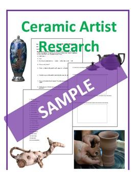 Ceramic Artist Research Worksheets