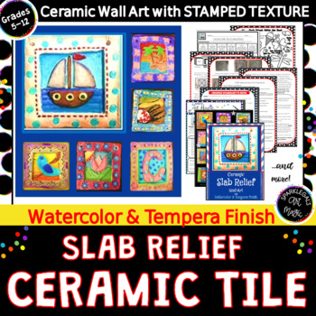 Ceramic Slab Relief Wall Art with Watercolor & Tempera Finish