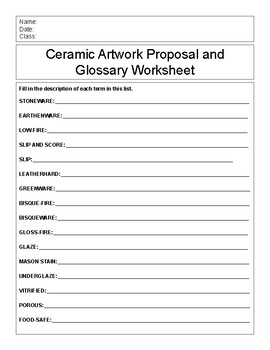 Ceramic Terms Glossary and First Project Proposal