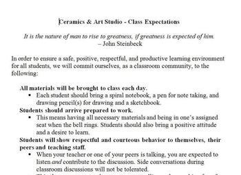 Ceramics & Art Studio - Class Expectations