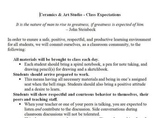 Ceramics & Art Studio - Class Expectations